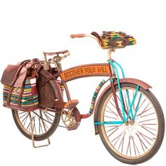 Oaxacan Bicycle - Our Oaxacan Bicycle is the second in our One-of-a-Kind Bicycle Series.  At WILL, we've brought you many incredibly beautiful elements of Mexico's culture through our Oaxacan collection, a line that has become part our brand 's identity. We have a partnership with Mexico. I wanted to find an unexpected way to take WILL fans on a journey to discover a culture rich in history, especially as it relates to leather craft, and one that honors the Zapotec culture of weaving and hand-looming.  If you're in New York, stop by our new store in Nolita on Prince Street and Mott Street. the bike is on display. Ask to take it for a spin. Really.  We truly hope that this bicycle inspires your journey.