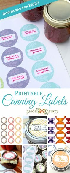 The best DIY projects & DIY ideas and tutorials: sewing, paper craft, DIY. Best Diy Crafts Ideas For Your Home Free Printable Canning Labels - many designs to choose from -Read Canning Labels Free, Pantry Labels, Canning Jars, Canning Recipes, Mason Jars, Printable Labels, Free Printables, Jam Label, Label Templates