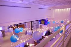 Lavender & Blue Bat Mitzvah Party at 404 NYC - String Lights & Lanterns {Party Planner: Florie Huppert Design, Photography by 5th Avenue Digital} - mazelmoments.com