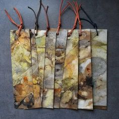 Bookmarks on ecoprinted paper -by Monika Lamacka