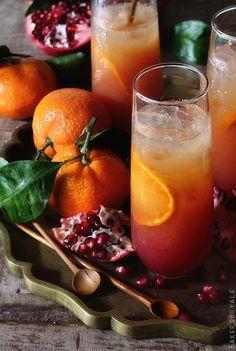 Satsuma and Pomegranate Campari Cocktail. Beautiful sunset colors!