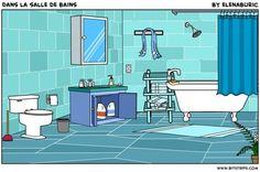 La classe de français: Dans la salle de bains. Image à toucher. D'autres éléments de vocabulaire