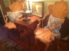 Set Of Two Heavy Shell Carved Armchairs -Spectacular