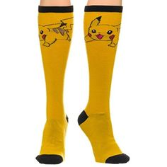 Pokemon Pikachu Knee High Socks - Official Pokemon Nintendo. Sock Size: 9-11 Fits Shoe Size: 5-10 68% Acrylic, 30% Polyester, 2% Spandex Machine Washable Officially Licensed.