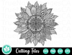 Your place to buy and sell all things handmade Zentangle, Doodle Wedding, Sunflower Mandala, Flower Svg, Vinyl Cutting, Svg Files For Cricut, Svg Cuts, Design Bundles, Cutting Files