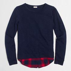 J.CREW Shirttail-Hem Sweatshirt in Navy