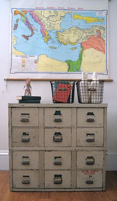 Vintage Industrial Storage Cabinet with 12 Drawers. $460.00, via Etsy.