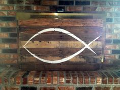 ICHTHYS / Jesus Fish Wall Hanging on reclaimed natural wood x Ichthys, Nail Holes, Wood Pallets, Natural Wood, Fish, Rustic, Canning, Wall Art, Nature