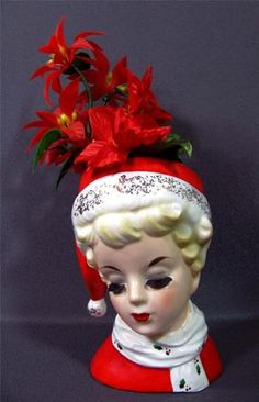 Christmas Lady Headvase Ceramic Christmas Planter Vintage | eBay