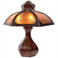 "Good Stickley Brothers lamp, six-sided mica shade on a hammered copper base, original patina and mica, unsigned, 18.5""w x 21""d x 23""h, very good condition"