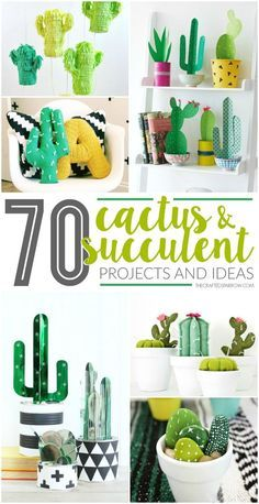 and succulents are a hot trend in home decor, get inspired with one of these 70 Faux Cactus & Succulent Projects and Ideas.Cactus and succulents are a hot trend in home decor, get inspired with one of these 70 Faux Cactus & Succulent Projects and Ideas. Diy Home Decor Rustic, Diy Home Decor Projects, Easy Home Decor, Cheap Home Decor, Home Crafts, Diy And Crafts, Craft Projects, Party Crafts, Decor Crafts