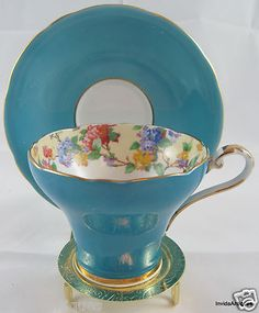 1930s Aynsley Blue and Gold Gilt Footed Corset England China Cup & Saucer Set