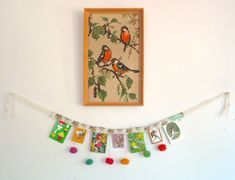 .Pompom  Bunting. Embroidery