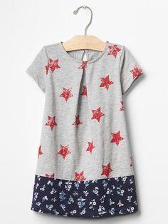 5e849317be6c Mix-print americana pleat dress Stylish Toddler Girl