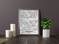 Excited to share the latest addition to my #etsy shop: Greenwich map print, Minimalistic wall art poster, England gifts, Birthday Gift, For father, Father