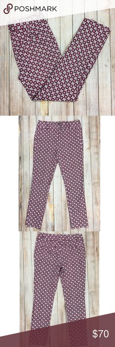 LOFT Marisa Skinny ankle pants in geometric print LOFT Marisa Skinny ankle pants in burgundy and pink geometric print. An essential pant, narrow from hip to hem, midrise. This print screams spring and summer fun! I love wearing pants like these with my fave pumps or flats, paired with a solid top and some statement jewelry.  EUC, no flaws.  ***Approximate measurements provided in photos***  Tags: fun, pattern, busy, date night, work pants, slim fit, girly LOFT Pants Ankle & Cropped