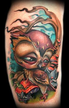 Kelly Doty - Owls conquer mushrooms tattoo wow wow wow!!!!!