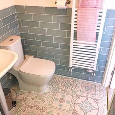Everyone loves a pattern! Especially when it looks this stunning 😍 Our Funky Antique Tiles Vinyl looks amazing in ourrosewoodhome's bathroom! This could be yours for just £12.59/m² 🙌 🛒 order your Free Samples today! #Vinyl #VinylFlooring #Bathroom #BathroomFlooring #Flooring #FlooringTrends #FlooringSuperstore #Flooring #FlooringTrends #WoodFlooring #EngineeredWood #Home #Interiors #Interior #Laminate #Vinyl #Lvt #Carpet #Carpets #InteriorDesign #Decor #Decorating #HomeDecor Modern Flooring, Vinyl Flooring, Bathroom Flooring, Antique Tiles, Duck Egg Blue, Home Look, Engineered Wood, Pastel Colors, Tile Floor