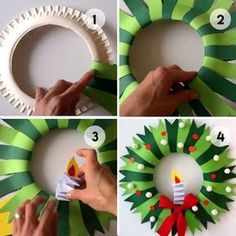 Cheap and Easy Christmas Decorations for Living Room - Iced Branches : Easy Christmas Paper Wreath Easy Christmas Paper Wreath Preschool Christmas, Christmas Paper, Christmas Activities, Christmas Crafts For Kids, Christmas Projects, Simple Christmas, Holiday Crafts, Cheap Christmas, Christmas Wreaths