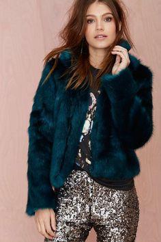 Glamorous Furred Lines Faux Fur Jacket//