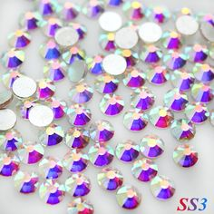 Sale! Super Shiny SS3(1.3mm)1440pcs/Bag Clear Crystal AB color 3D Non HotFix FlatBack Nail Art Decorations Flatback Rhinestones ** Check this awesome product by going to the link at the image.