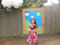 Peppa Pig photo booth with suspended frame and pillow cloud