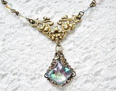 RESERVED Aurora Borealis Glass Jewel Necklace