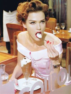 Eating a Café Liégeois in a CHANEL Haute Couture gown...