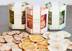 Simple & Crisp - packaging for organic, gluten-free fruit crisps. Love the use of color and pattern.
