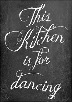 Poster 30 x 40 cm: This kitchen is for dancing von GreenNest - hochwertiger Kunstdruck, neues Kunstposter