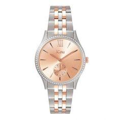 Γυναικείο ρολόι JCou JU19035-1 Estelle με ροζ καντράν, ατσάλινη κάσα & δίχρωμο ροζ και ατσάλινο μπρασελέ   Γυναικεία ρολόγια JCou ΤΣΑΛΔΑΡΗΣ στο Χαλάνδρι #jcou #Estelle #μπρασελε #tsaldaris Rolex Watches, Bracelet Watch, Steel, Luxury, Bracelets, Accessories, Bangle Bracelets, Watch, Bracelet