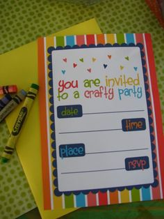 These adorable FREE arts & craft party printables are perfect for you child's birthday or playdate. The set includes an invitation, favor tags, and a blank placemat for drawing. Art Party Invitations, Birthday Invitations, Party Favors, 4th Birthday Parties, Free Birthday, Birthday Ideas, Party Printables, Free Printables, Artist Birthday