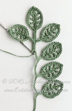 Simple Branch Irish crochet pattern / tutorial with step-by-step pictures, written instructions and charts. Simple Branch Irish crochet pattern / tutorial with step-by-step pictures, written instructions and charts. Crochet Leaf Patterns, Crochet Leaves, Crochet Motifs, Freeform Crochet, Thread Crochet, Crochet Crafts, Crochet Flowers, Irish Crochet Charts, Knit Crochet