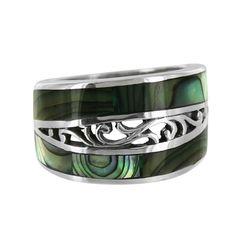 Sterling Silver Abalone Shell Swirl Cutout Ring