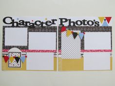 Character Photo's Disney Premade or DIY Kit,12x12 Scrapbook Layout, Scrapbook Page Kit, Project Life, Filofax