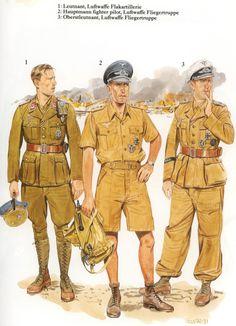 1: Leutnant (Alférez) de la Luftwaffe Flakartillerie (Artillería Antiaérea). 2: Hauptmann (Capitán, Piloto de Combate), de la Luftwaffe Fliegertruppe. 3: Oberleutnant (Teniente, Piloto de Combate), de la Luftwaffe Fliegertruppe