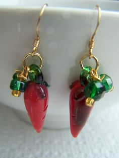 Red Chili Pepper Green Lampwork Glass Dangle Earrings by doodaba, $12.00