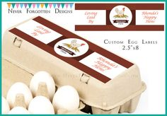 Do you have backyard chickens or a small coop that you find yourself giving or selling eggs to family and friends? These personalized labels are a unique way to put your farm or family name on your egg cartons!  You receive a set of 8 Adhesive Personalized Egg Labels / Stickers with Your Name or Your Farm Name, 2.5 x 8 (Egg Cartons Not Included) *Please note labels are NOT glossy.  Please confirm the dimensions of your label before ordering. During check out you will be asked for order…