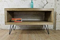 PINE STEEL HAIRPIN LEGS SIDEBOARD COFFEE TABLE RETRO WOOD MID CENTURY MODERN