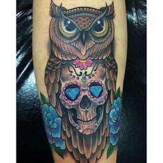 Full Sleeve Tattoos, Cover Up Tattoos, New Tattoos, I Tattoo, Cool Tattoos, Amazing Tattoos, Tatoos, Owl Skull Tattoos, Owl Tattoo Drawings