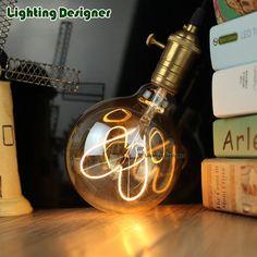Stylish DIY bulb G95 globe Edison bulb 4W soft LED filament heart design Amber 110-240V E27 base spiral design light bulb