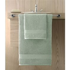 Bamboo by Kassatex with a cashmere like feel and available in 12 colors is a favorite with interior designers. Shown:  Rain (Soft Green Aqua). Collection starting at $9.95