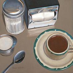 Coffee Cream? 8x8 original oil painting realistic still life by Nance Danforth