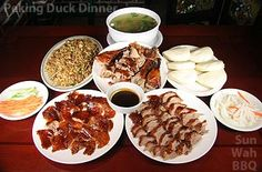Sun Wah BBQ - Peking Duck Dinner feeds about 3 people per duck. You must make reservations and specifically order the duck. A proper duck takes 24 hours to make.
