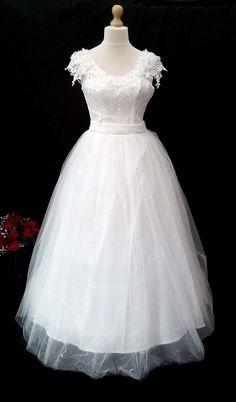 New Light Ivory Wedding Dress With Sequinned Lace Bodice Uk Size 16