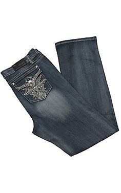 Grace in LA® Women's Embroidered Cross w/ Crystals & Studs Flap Pocket Boot Cut Jean- Plus Sizes | Cavender's Boot City