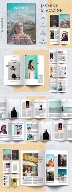 Jasmine Magazine Template #magazine #brochure #template #brochuretemplate #brochuredesign #layout #layoutdesign #editorial #indesign #templates Editorial Design Magazine, Magazine Layout Design, Editorial Layout, Page Layout Design, Book Design, Entrepreneur Magazine, Magazin Design, Hipster Design, Ideas