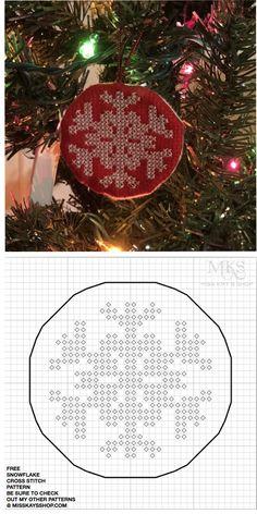 Free Christmas Snowflake Cross Stitch Pattern