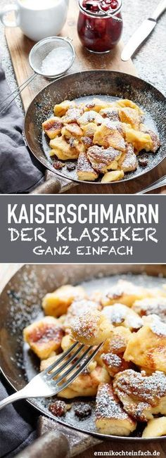 Kaiserschmarrn - www.de snacks for kids to make Kaiserschmarrn ganz klassisch - emmikochteinfach Easy Cake Recipes, Sweet Recipes, Dessert Recipes, Healthy Recipes, Snacks Recipes, Diy Snacks, Night Snacks, Paleo Food, Savory Snacks