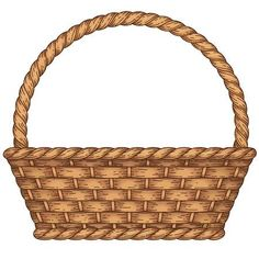 Illustration of Empty woven basket isolated on white background vector art, clipart and stock vectors. Vegetable Crafts, Diy And Crafts, Paper Crafts, Borders For Paper, Banner Printing, Preschool Crafts, Sunday School, Basket Weaving, Wicker Baskets